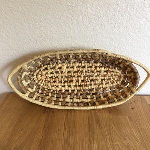 Vintage Oval Palm Leaf Woven Basket